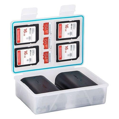 Boîtier De Batterie Pour 2 Batteries Canon Lp-E12 Olympus Bls-5 Carte Sd Msd Xqd